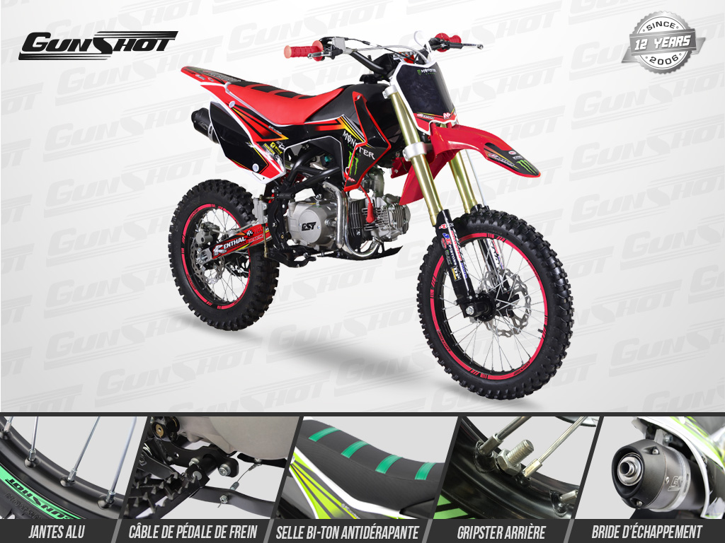 Pit Bike GUNSHOT 125 FX Edition MONSTER 2018 - Profil Droit - Rouge