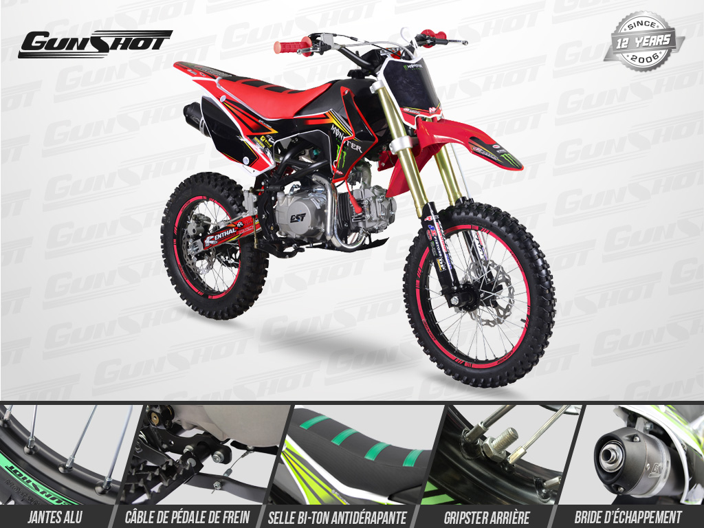Pit Bike GUNSHOT 140 FX 17/14 Edition MONSTER 2018 - Profil Droit - Rouge