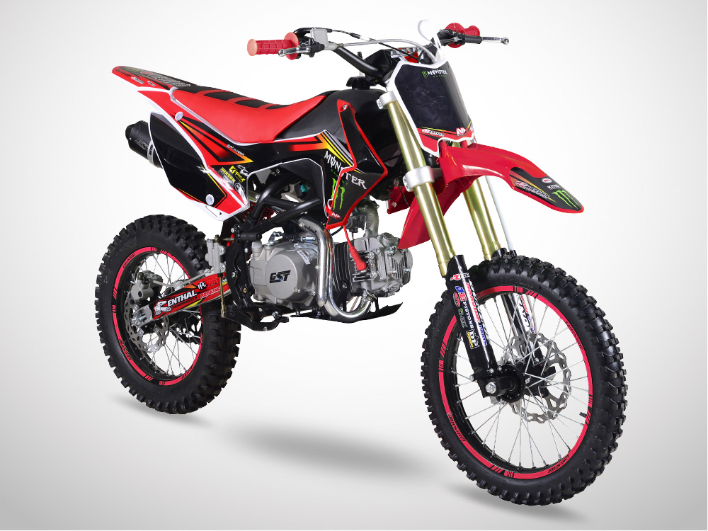 Pit Bike GUNSHOT 140 FX 17/14 Edition MONSTER 2018 - Profil Gauche - Rouge