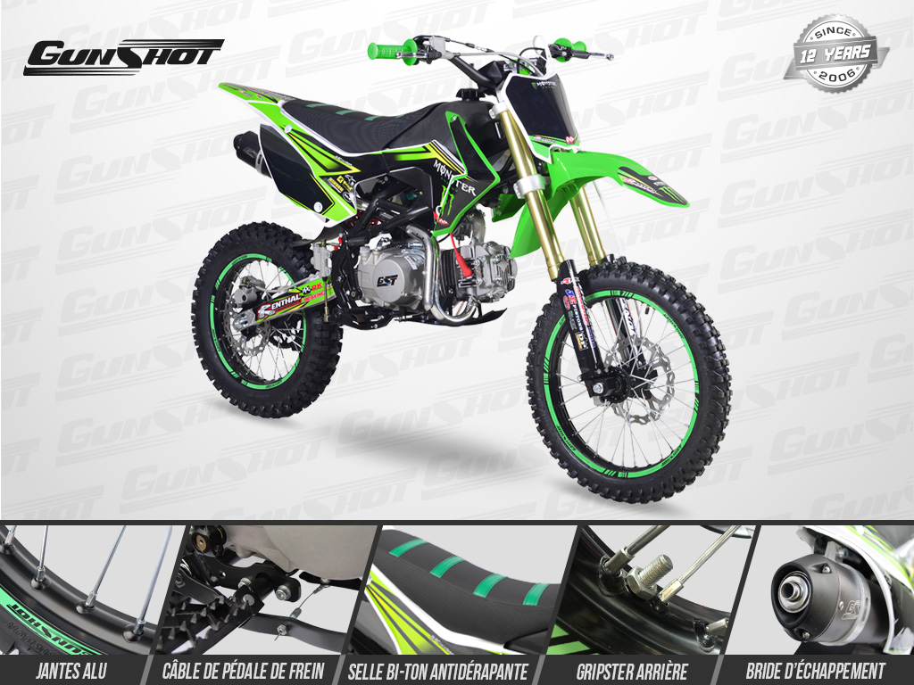 Pit Bike GUNSHOT 140 FX 17/14 Edition MONSTER 2018 - Profil Droit - Vert