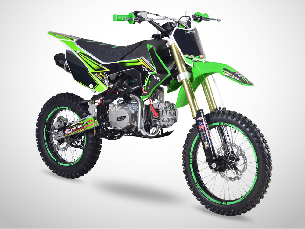Pit Bike GUNSHOT 140 FX 17/14 Edition MONSTER 2018 - Profil Gauche - Vert